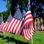 American flags on Bascom Hill
