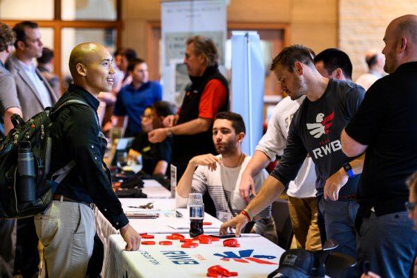 A veteran talks to members of University Veteran Services