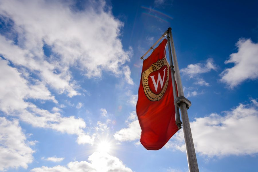 A flag with the UW crest against a blue sky