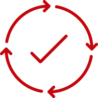 Checkmark circled by a circle of arrows showing a repeating process.
