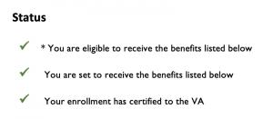 benefit certification status